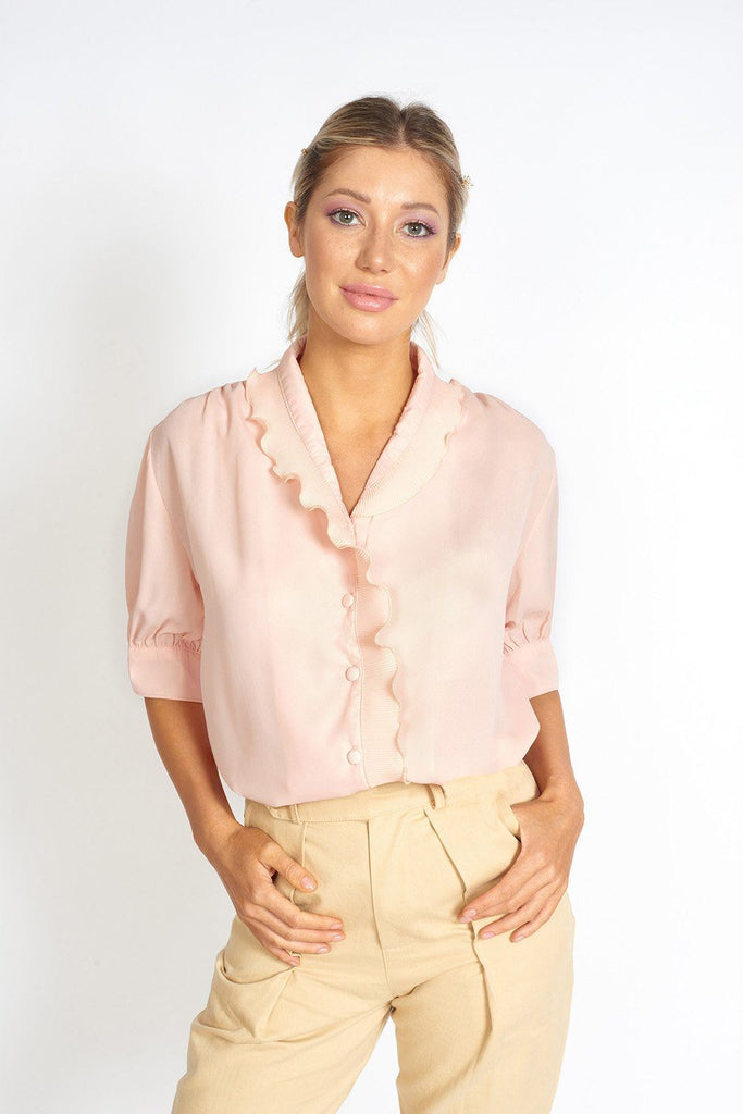 Lou Collared Retro Chiffon Top