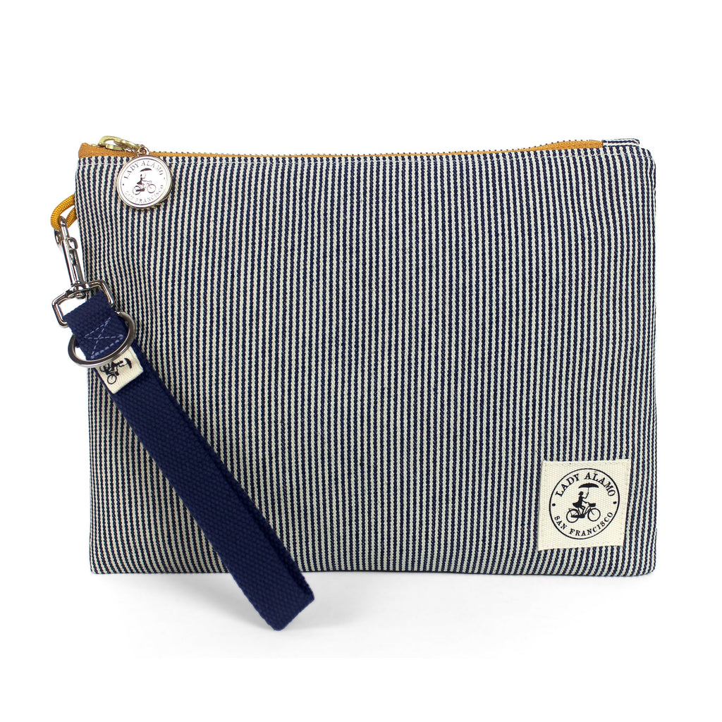 Miss Zip: Railroad Stripe with Grey Key Ring