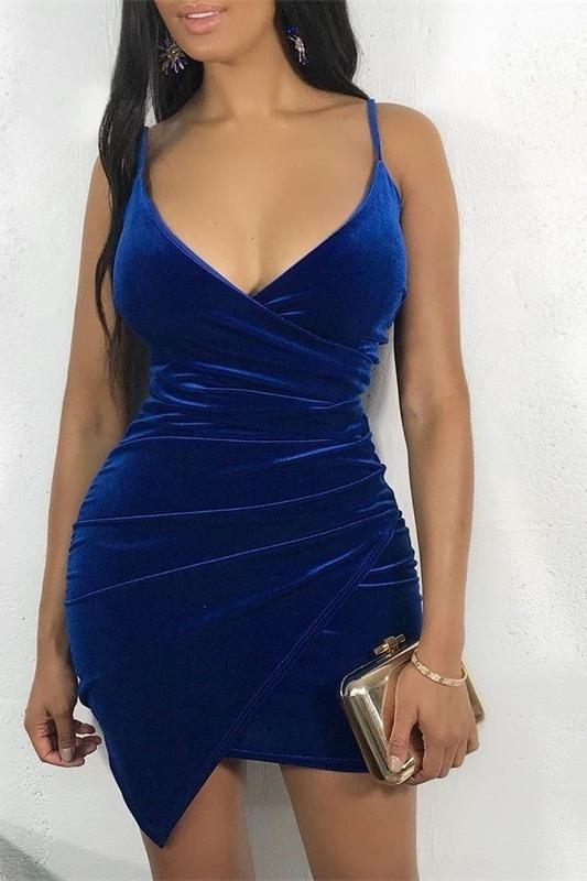 Bewlady Sexy Velvet Bodycon Nightdress Backless V Neck Midi