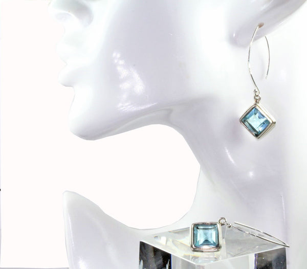 Radiant Blue Topaz Gemstone Earrings