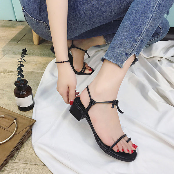 Roman Women Shoes Cross Straps Mid-Heeled Comfort