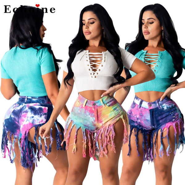 Tassled Brushed Tie Dye Denim Shorts Women's Jeans Casual Pants Revers