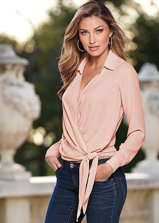 Women Blouses Office Lady Shirts Sexy Overlap Low Cut Bandage Knot