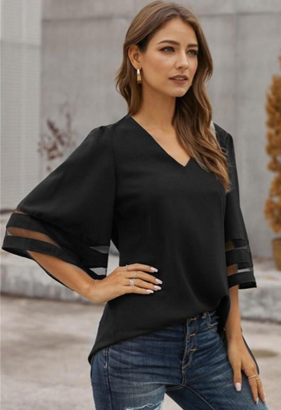 Women Flare Sleeve V Neck Blouse Sexy Mesh Patchwork Tunic Tops Modern