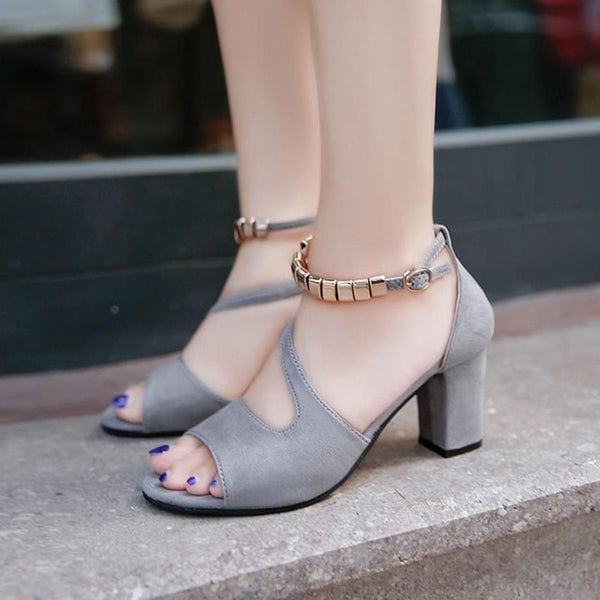 Women Sandals High Heels Solid Color Peep Open Toe