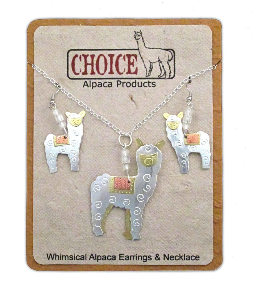 Whimsical Alpaca Necklace and Earrings