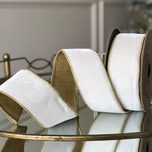 "Load image into Gallery viewer, 2.5"" x 10 yds Lush Velvet Ribbon with Gold Trim- Winter White"