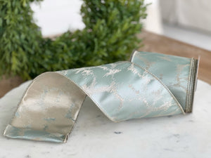 "Celadon Winter Frost Satin Ribbon- 4"" x 10 yds"
