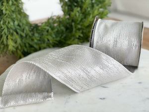 "Silver Faux Finish Ribbon- 4"" x 10 yds"