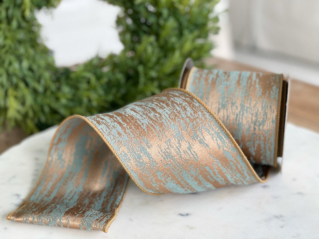 Celadon & Gold Faux Finish Ribbon- 4