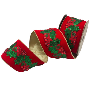 Red Crystal & Green Sequined Holly Red Velvet Ribbon with Gold Backing