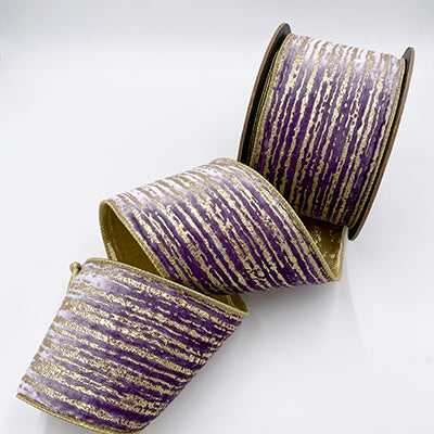 Lavender velvet metallic gold splatter stripe paint