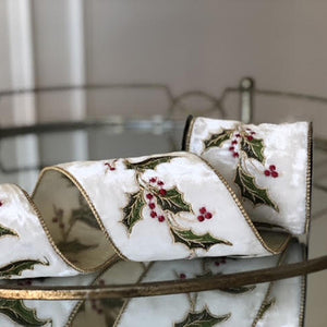 White Velvet Holly Embroidered Ribbon