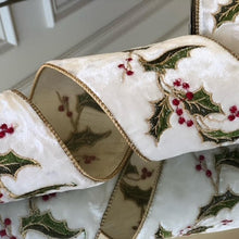 Load image into Gallery viewer, White Velvet Holly Embroidered Ribbon