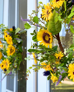 Sunflower and Lavender Thistle Wreath