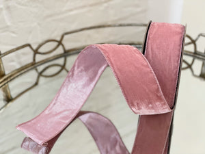 Light Pink Velvet Ribbon with Pink Metallic Back