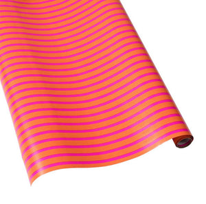 Coral & Pink Stripe Reversible Wrapping Paper