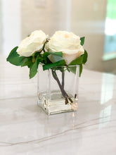 Load image into Gallery viewer, White English Roses and Bud in Glass Vase with Acrylic Water