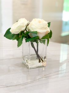 White English Roses and Bud in Glass Vase with Acrylic Water