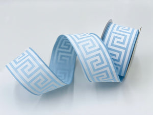 "Baby Blue Greek Key Ribbon 2.5"" x 10 yds"