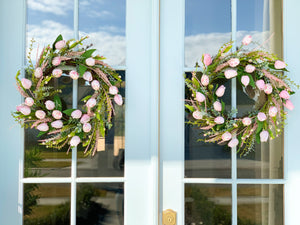 Pink Tulip and Floral Egg Wreath