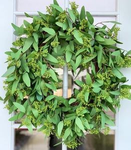 "24"" Artificial ""Real Touch"" Long Leaf Eucalyptus Wreath"