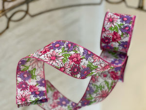 Spring Meadow Floral Linen Ribbon