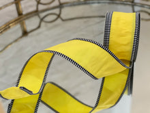 Load image into Gallery viewer, Yellow Taffeta with Black and White Gingham Ribbon