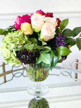 Load image into Gallery viewer, Rose, Peony, and Hydrangeas in Glass Vase with Acrylic Water