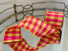 Load image into Gallery viewer, Yellow and Fuchsia Dupioni Check Ribbon