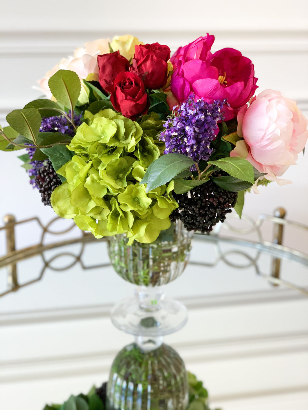 Rose, Peony, and Hydrangeas in Glass Vase with Acrylic Water