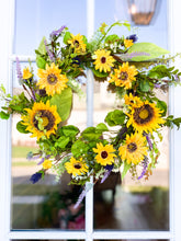 Load image into Gallery viewer, Sunflower and Lavender Thistle Wreath