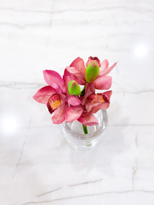 Purple Cymbidium in Glass Vase with Acrylic Water
