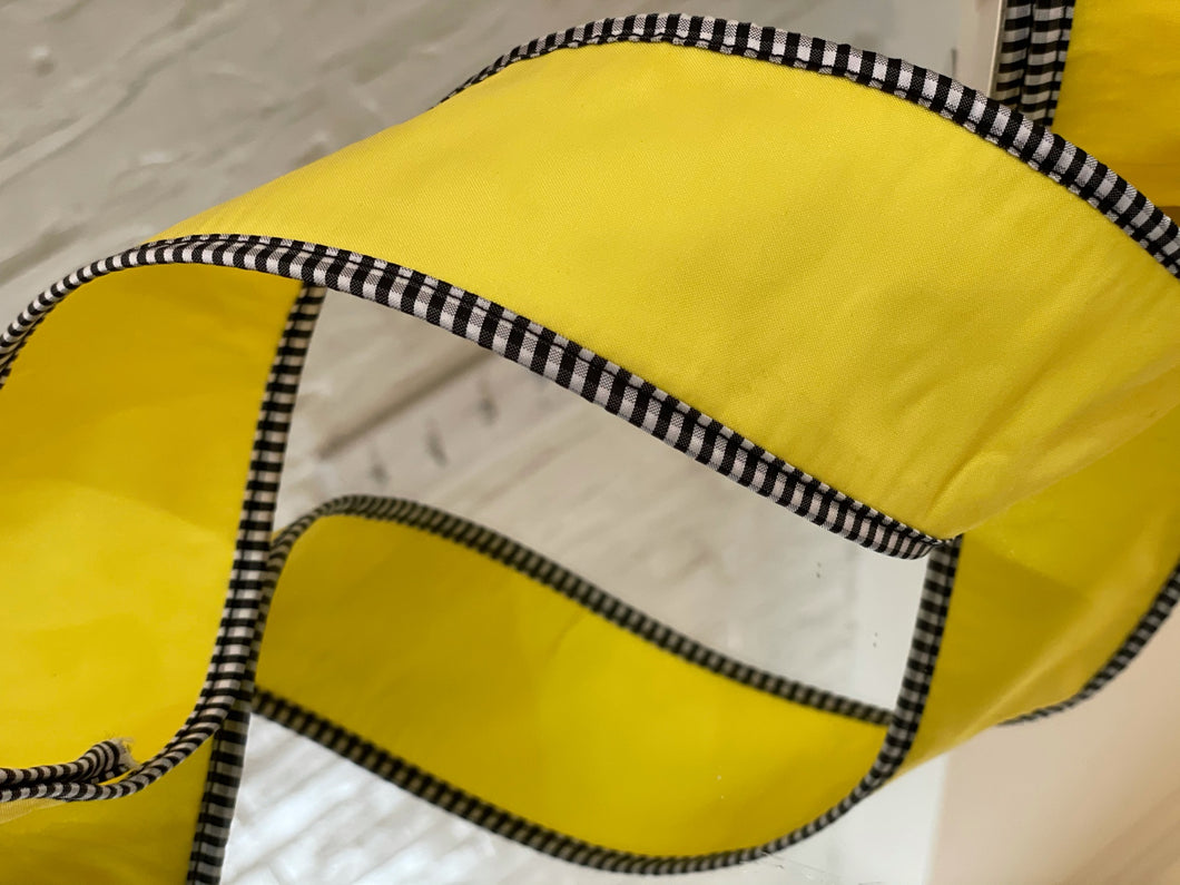 Yellow Taffeta with Black and White Gingham Ribbon