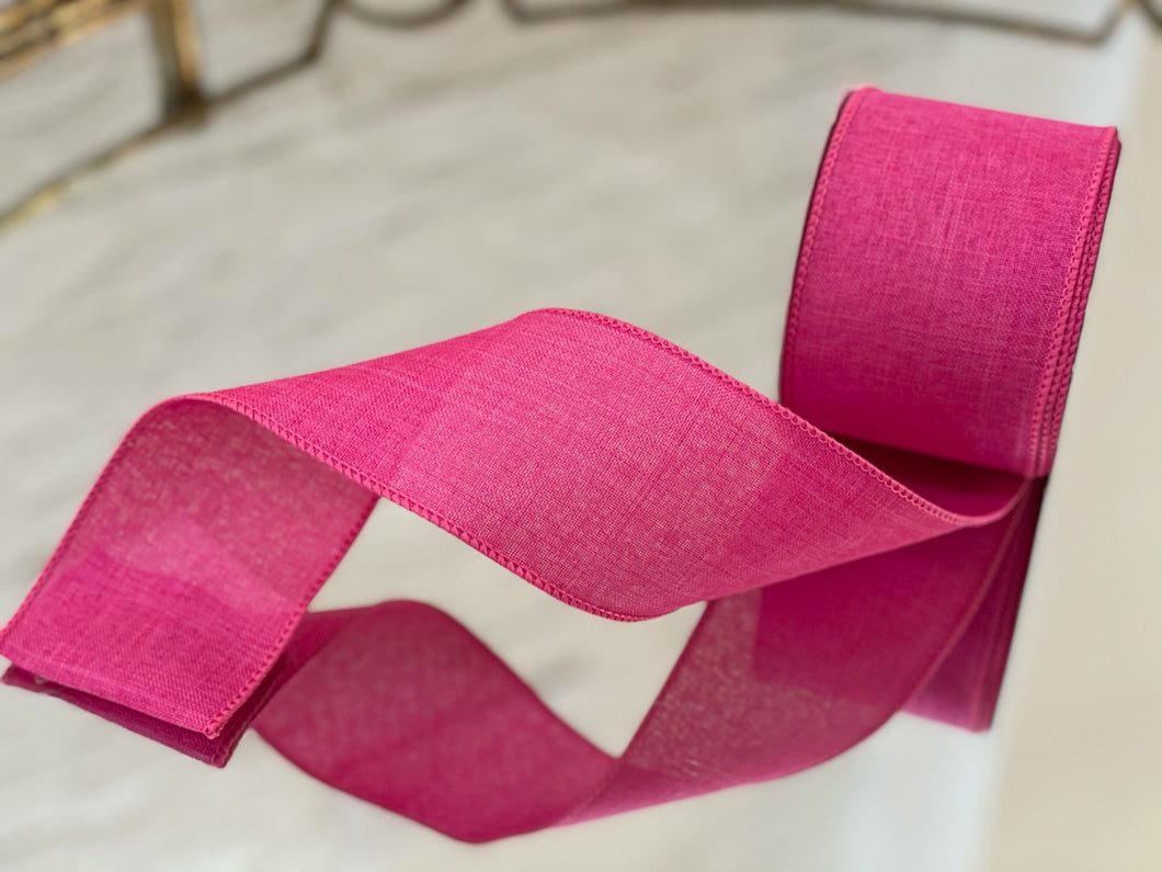 Hot Pink Linen Ribbon