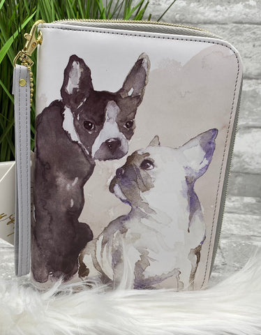 Painted Dogs Zipper Clutch