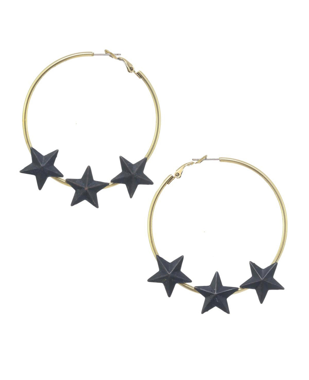 Gold and black stars hoops