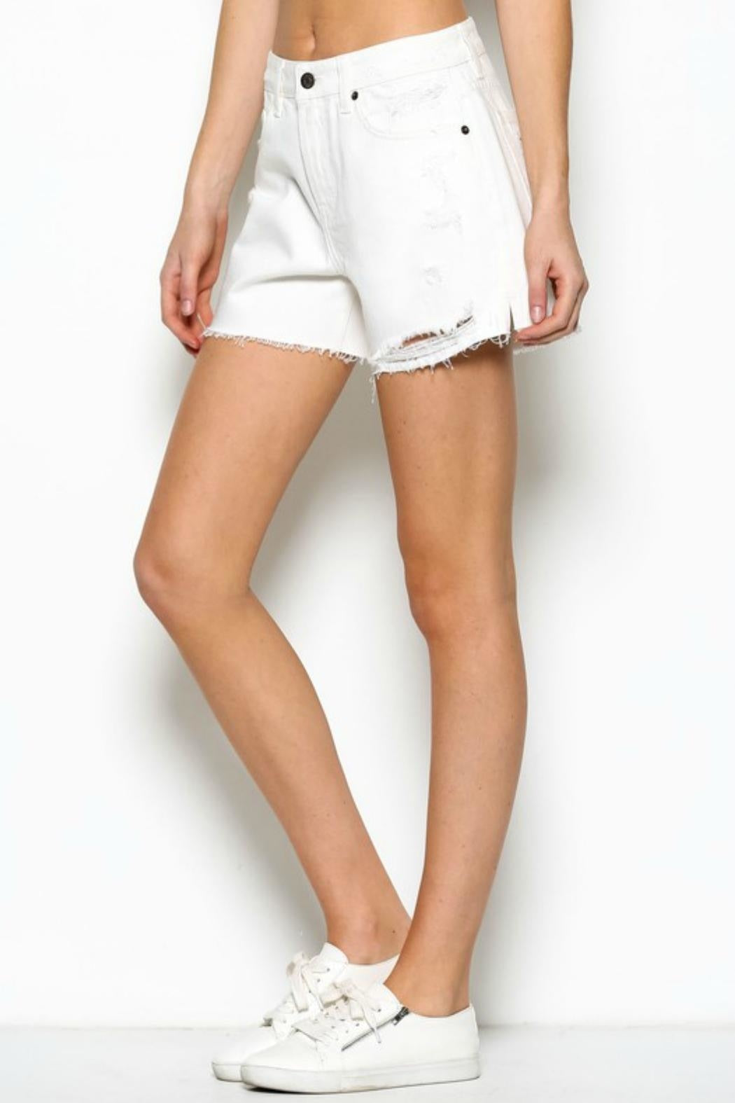 Off White Distressed Mom Shorts