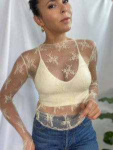 Mock Neck Laced Top
