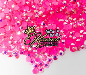 HOT PINK AB Jelly Resin Rhinestones
