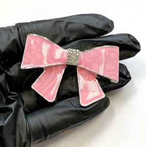 Pink Bow w/ Rhinestone Knot Alloy