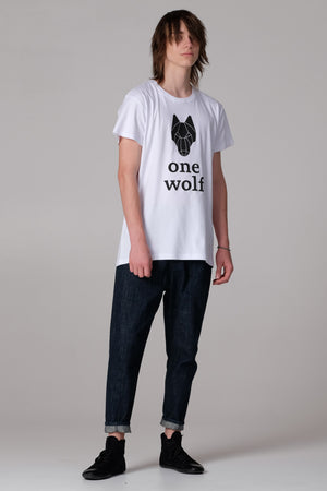 One Wolf logo T-Shirt white/black - One Wolf