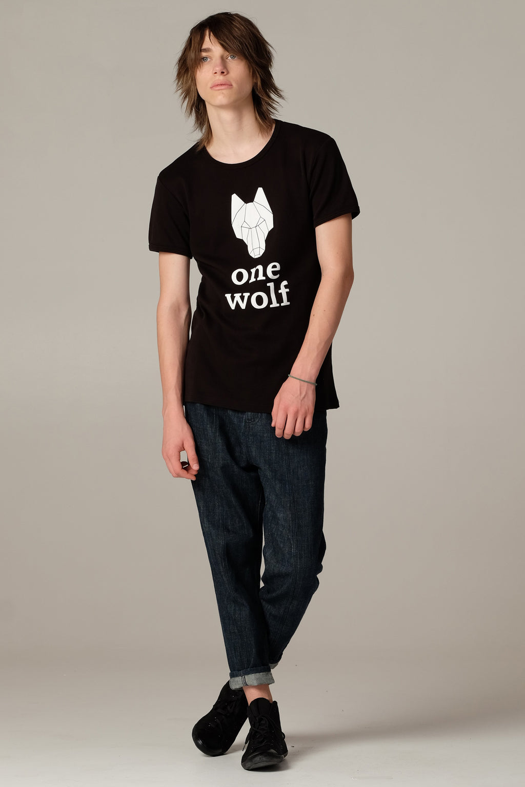 One Wolf logo t-shirt black/white logo - One Wolf