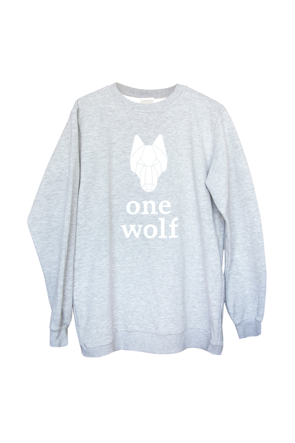 ONE WOLF LOGO COMFORT sweater grey/white logo - One Wolf