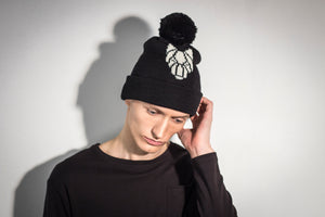 ONE WOLF hat with pom pom black/white logo - One Wolf