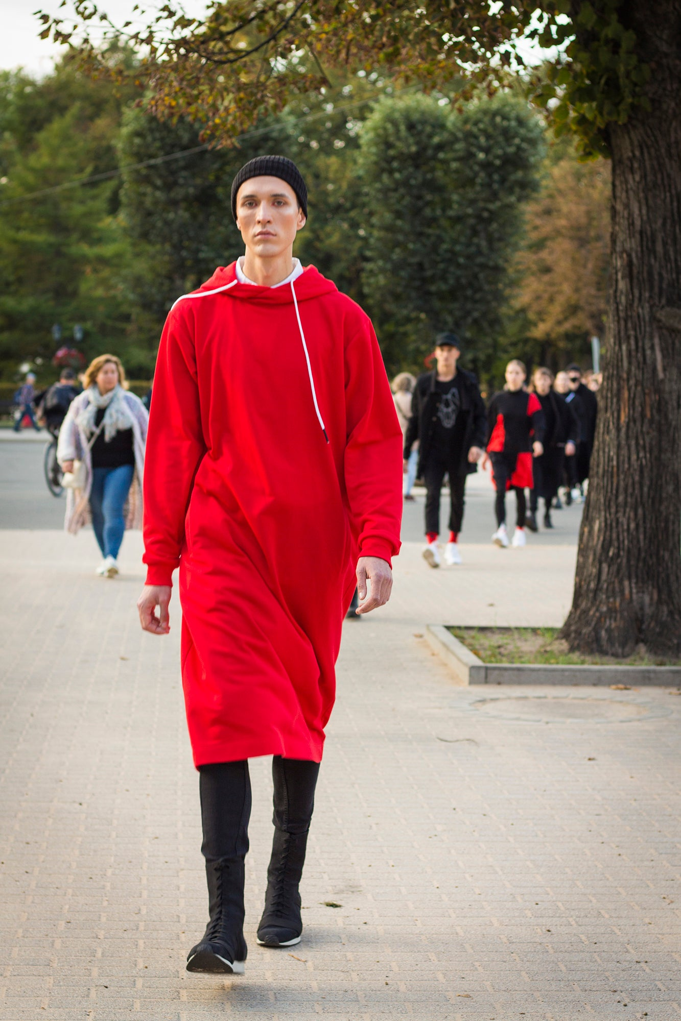 hoodie - dress CITY MONK red