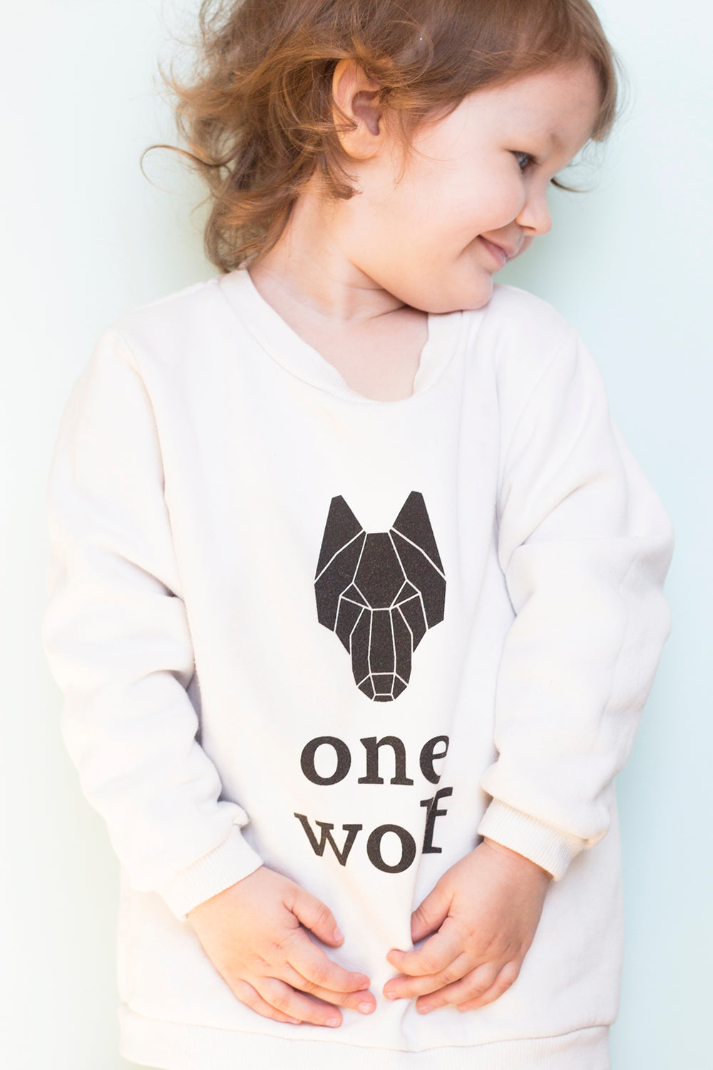 KIDS ONE WOLF LOGO sweater white/black logo - One Wolf