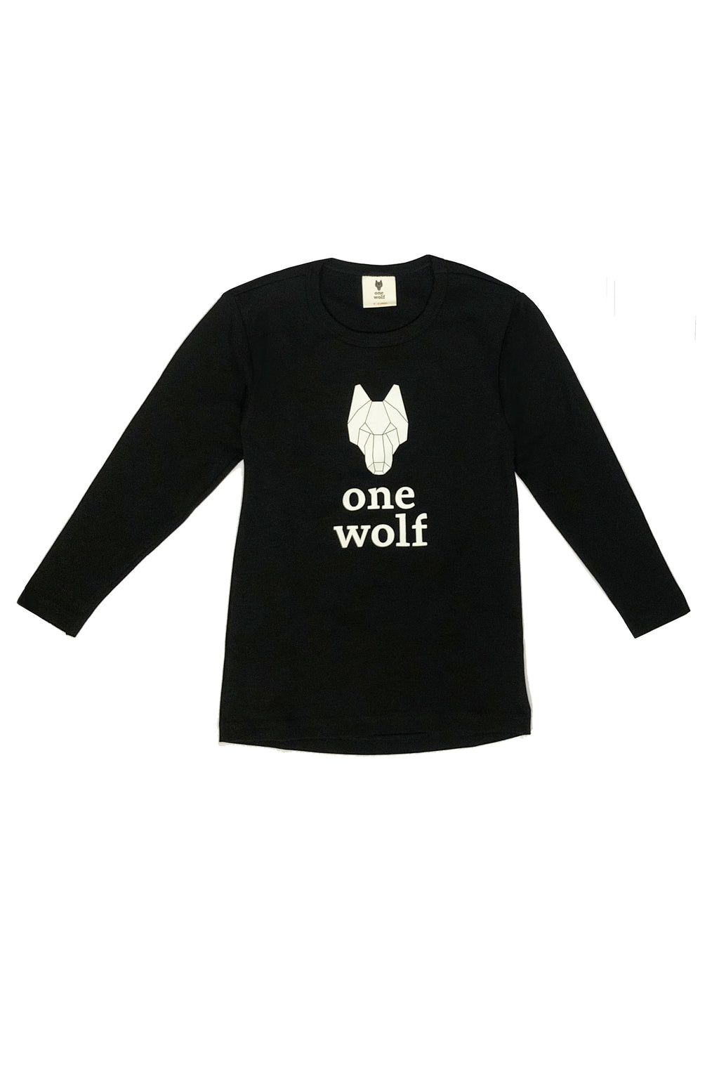 KIDS OW LOGO long sleeve T-shirt black/white logo - One Wolf