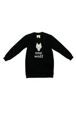 KIDS ONE WOLF LOGO sweater black/white logo - One Wolf