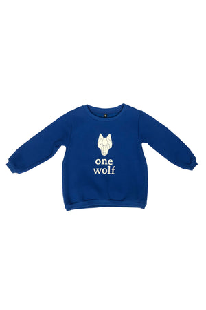 KIDS ONE WOLF LOGO sweater blue/white logo - One Wolf
